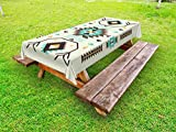 Ambesonne Southwestern Outdoor Tablecloth, Ethnic Pattern Design from Ancient Aztec Culture with Indigenous Zigzag Motifs, Decorative Washable Picnic Table Cloth, 58 X 84 Inches, Multicolor