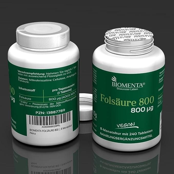 Biomenta ACIDO FOLICO 800 - DOSIS ALTA con 800 µg - 240 VEGANO Tabletas - Durante 8 Meses: Amazon.es: Salud y cuidado personal