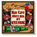"""CounterArt Absorbent Coasters, """"Man Cave-Never Wrong"""", Set of 4"""