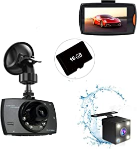 Dash Cam Car Dashboard Camera Recorder FHD 1080P Front and Rear Cameras, 170 Super Wide Angle, G Sensor, Parking Monitor, Motion Detection, Night Vision, WDR with 16G Micro SD Card