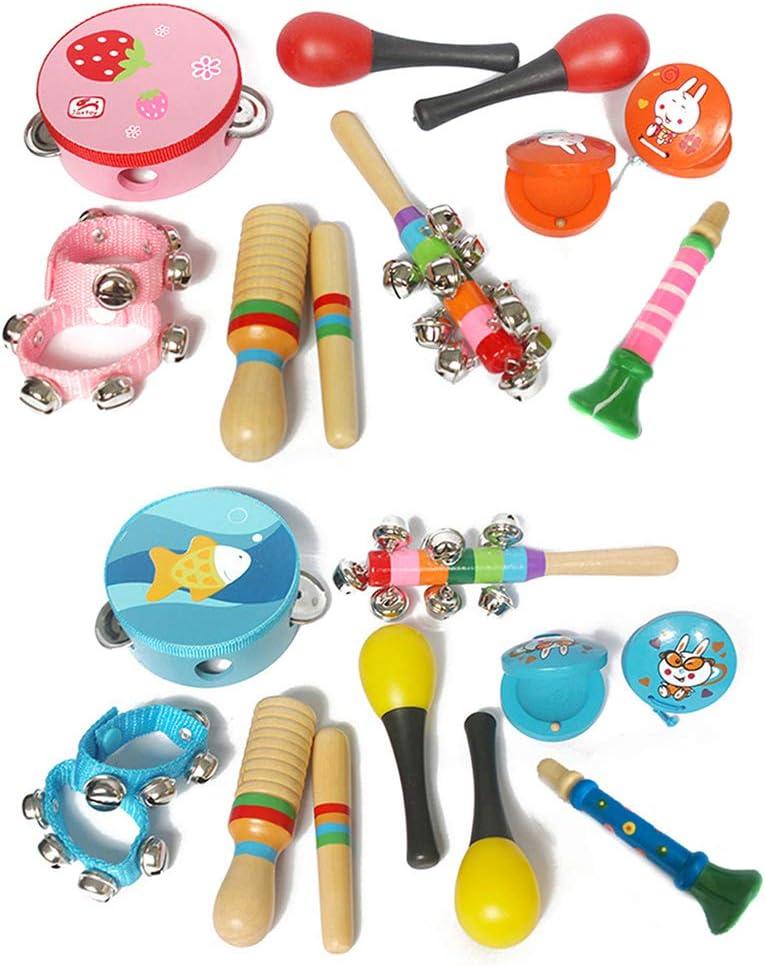 Koowaa 10 pcs//Ensemble Jouets Musicaux Instruments de Percussion Bande Rythme Kit Maternelle Aides /à lenseignement Tout-Petit Jouet Musical B/éb/é /Éducatifs Instruments de Musique Ensemble-Cadeau