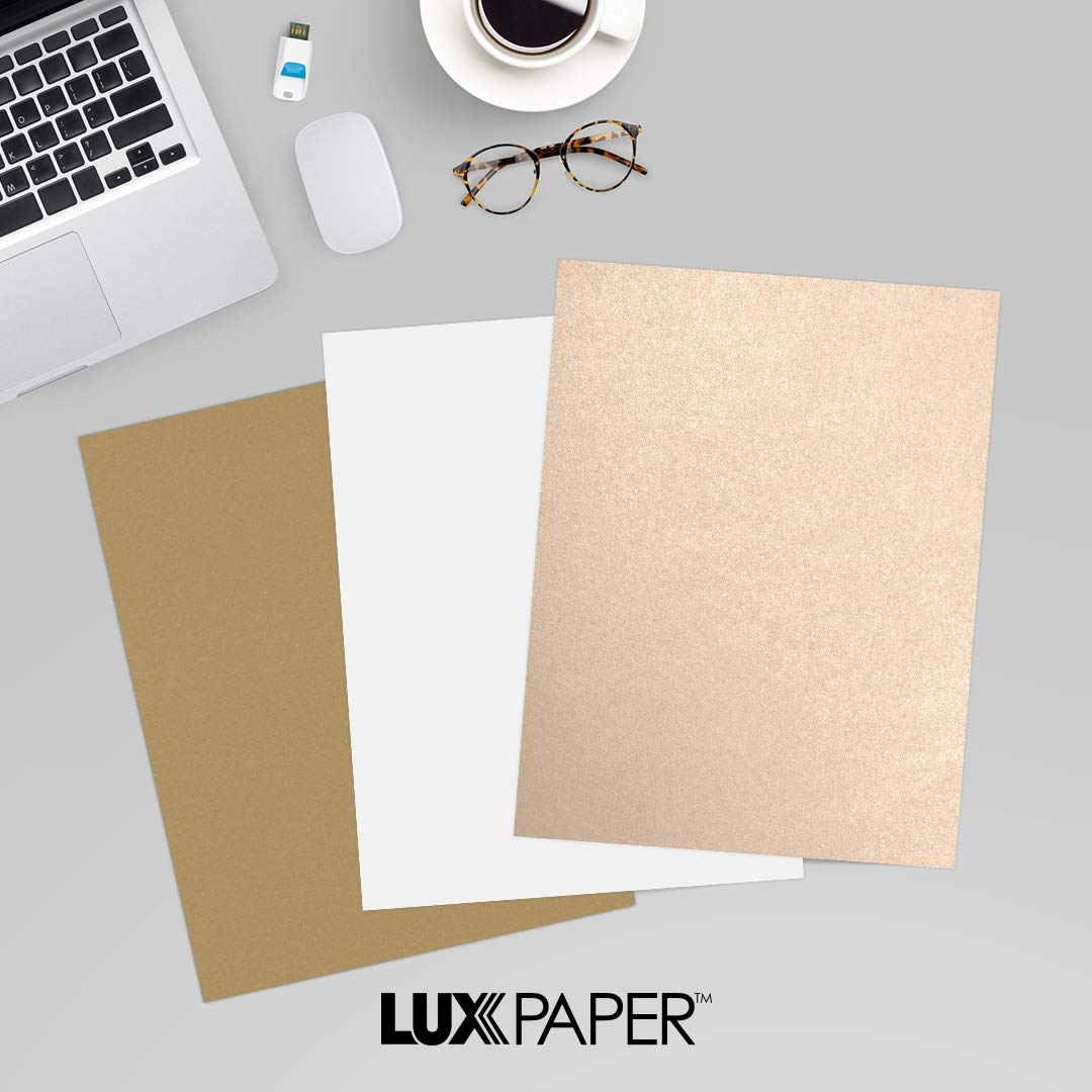 LUXPaper 8.5'' x 11'' Cardstock for Crafts and Cards in 105 lb. Coral Metallic - Stardream, Scrapbook Supplies, 50 Pack (Beige) by Envelopes.com
