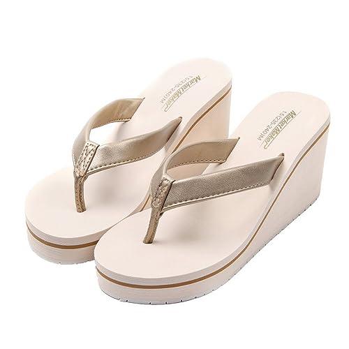 Aelegant Damen Sommer Zehentrenne Schuhe Dicker abfallender Absatz Elegant Sommerschuhe Strandschuhe Atmungsaktive...
