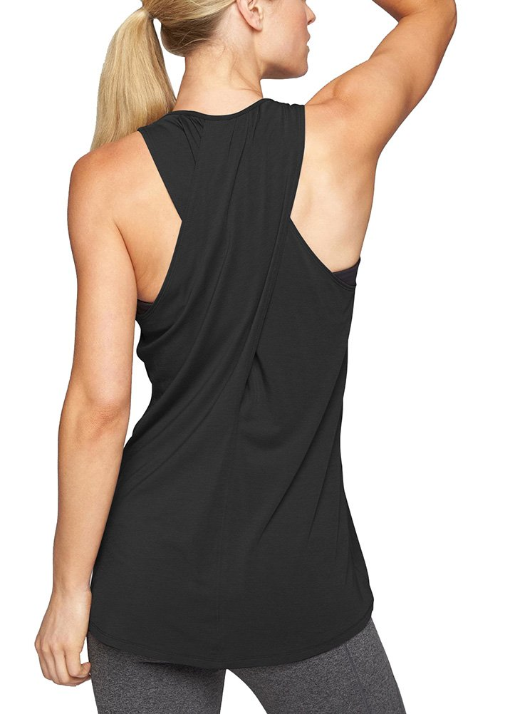 Mippo Women's Fashion Cross Back Tops Racerback Irregular Hem Sleeveless Tunic Shirt Yoga Workout Tank Tops Black L