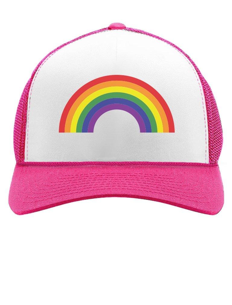 Tstars Pride Parade Trucker Hat Gay & Lesbian Pride Rainbow Flag Trucker Hat Mesh Cap One Size Wow Pink/White