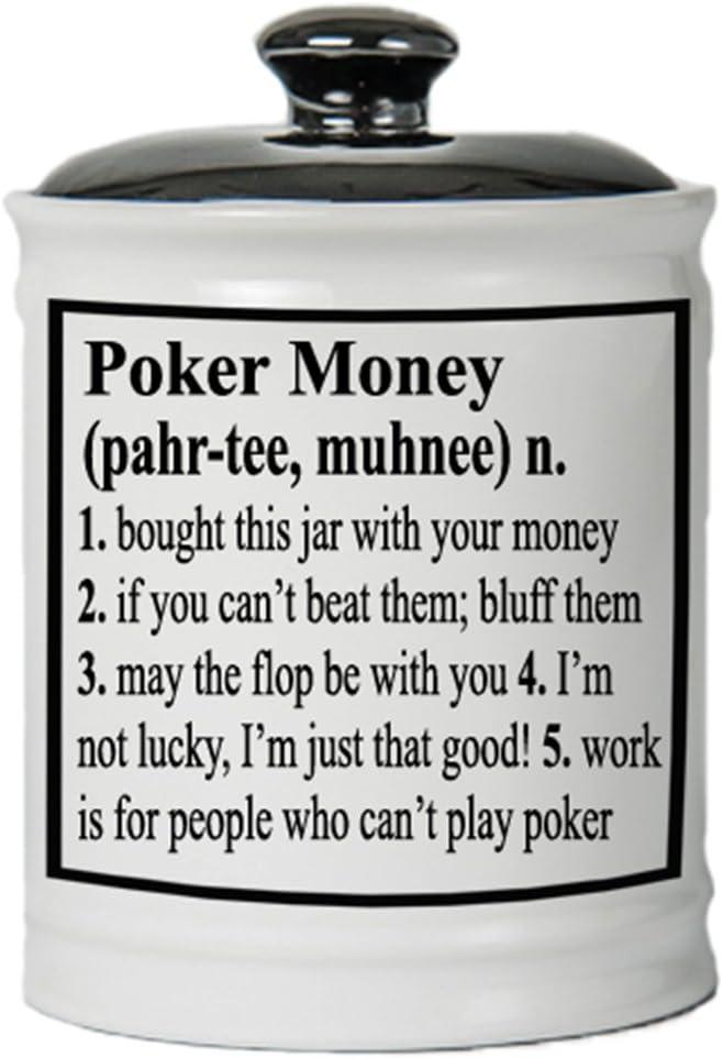 Cottage Creek Piggy Bank, Poker Money Coin Bank, Round Ceramic Poker Change Jar with Black Lid, Poker Money Bank [White]