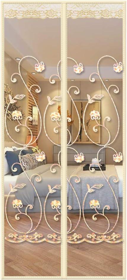 YXDDG Pantalla magnética Puerta corredera Cristal Imán Resistente Malla Pet Cortina y Sello de Amable Marco Completo para la Puerta Francesa del Cabrito-de Color Crema 110x200cm(43x79inch)