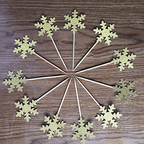 "Medium Double Sided Gold Glitter Decorative Frozen Winter Snowflake Snowflake Decorations Cupcake Toppers for Standard and Large Cupcakes,Size 2""Wide by 5"