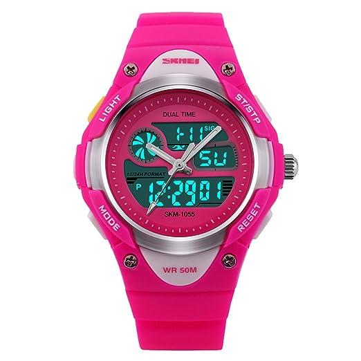 amstt niña Sport niños relojes Niño Niña digital impermeable alarma reloj de pulsera para el Edad