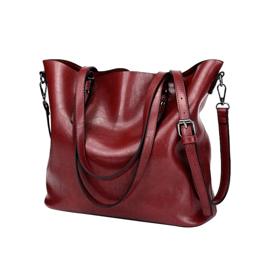 Women Retro Crossbody Bag Rakkiss Leather Shoulder Bag Handbag Bucket Large Capacity Bag Tote Backpack Bags (One_Size, Wine)