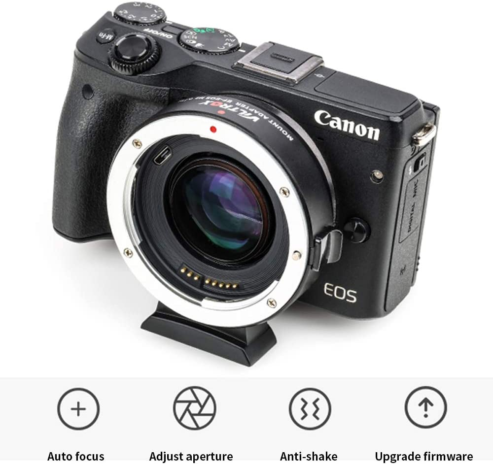 VILTROX EF-EOS M2 Auto-Focus Lens Adapter,0.71x Speed Booster for Canon EF Lens to EOS EF-M Mount Mirrorless Camera M M2 M3 M5 M6 M10 M50 M100 AF Auto-Focus Reducer