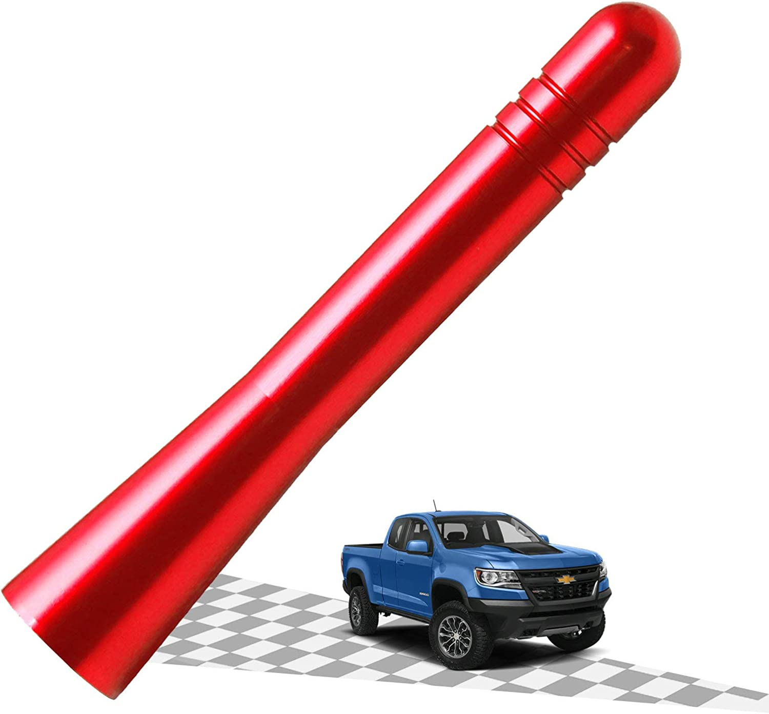 Elitezip Antenna Compatible with Chevy Colorado 2015-2018 3.2 Inches Optimized AM//FM Reception with Tough Material Vermilion Red