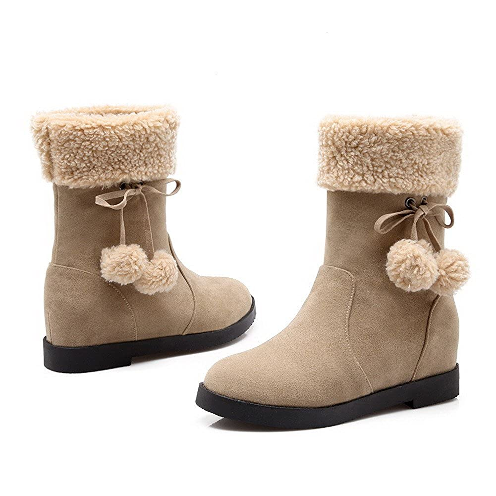 WeiPoot Womens Solid Imitated Suede Kitten-Heels Pull-On Closed Round Toe Boots