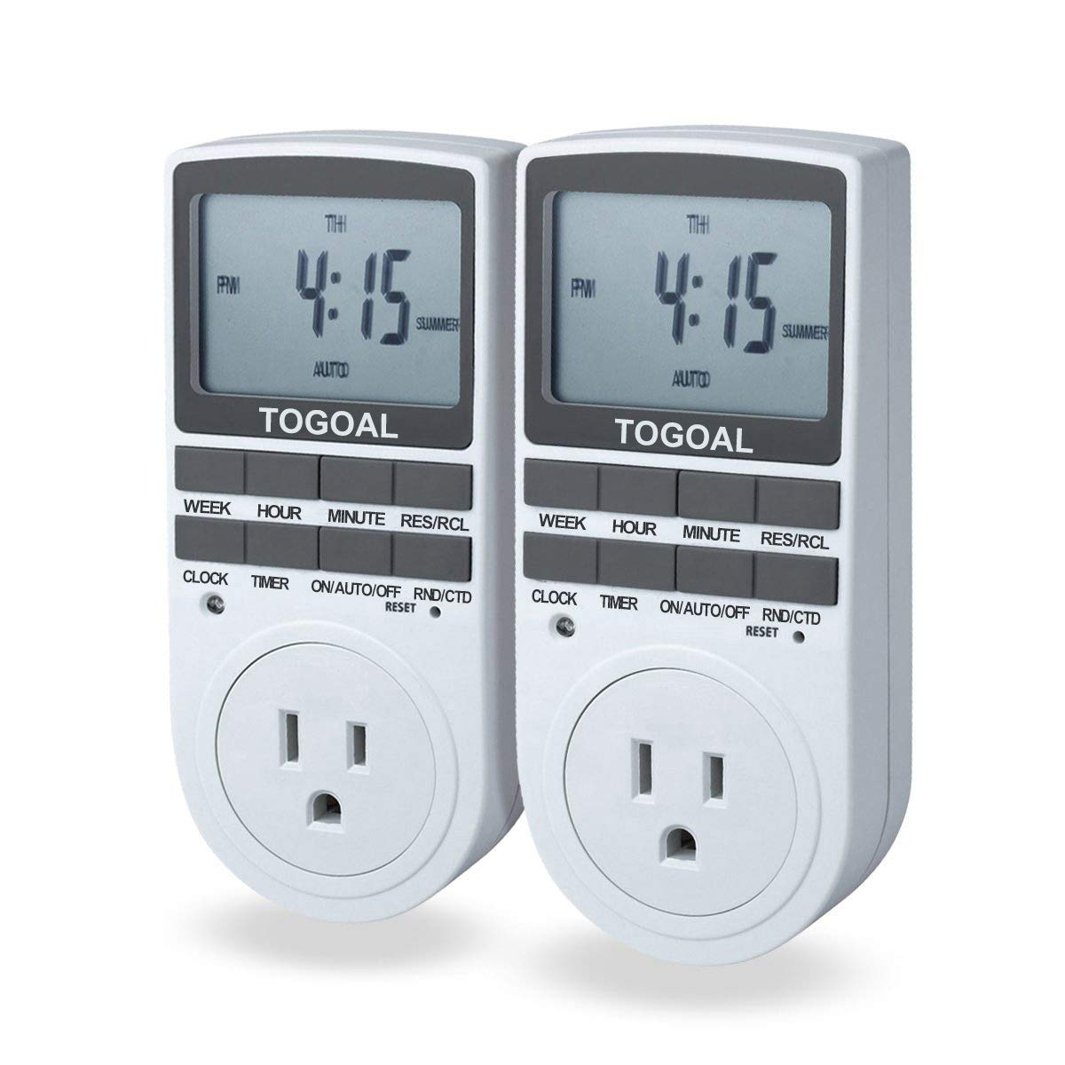 TOGOAL TE02 Digital Light Timer Plug with 3-prong Outlet, 24/7 Programmable for Indoor Electrical Switch with Anti-theft Random and Countdown Option, 2 Packs (15A, 1800W) by TOGOAL