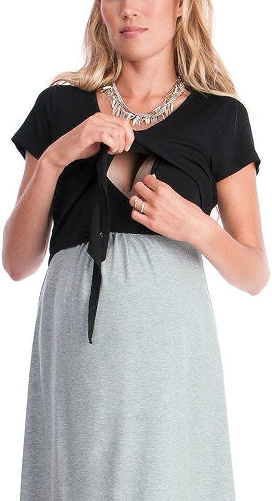 Mambain Abito Gravidanza Elegante Vestito Premaman Estate Abito Incinta Allattamento Prenatal Abbigliamento pr/émaman Donna Allatta Allattare Vestiti Madre Mammematernit/à