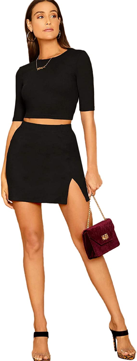 SheIn Womens 2 Pieces Short Sleeve Round Neck Ribbed Knit Crop Top and Mini Skirt Set