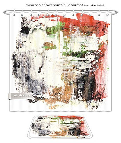 Minicoso Bath Two Piece Suit: Shower Curtains and Bath Rugs Abstract Watercolor Hand Painted By Me Nice Background For Your Projects More Images Like This In My Portf Shower Curtain - Me Your Tan Show Lines