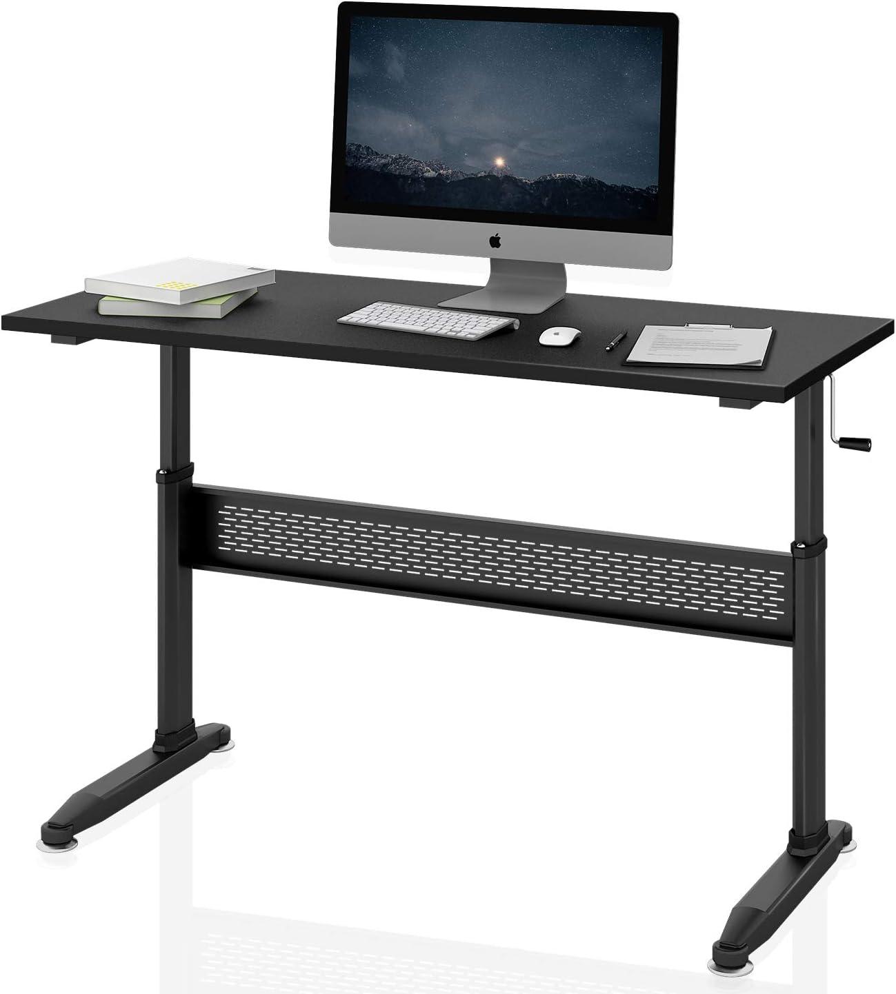 DEVAISE Adjustable Height Standing Desk 55 Inch with Crank Handle/Black