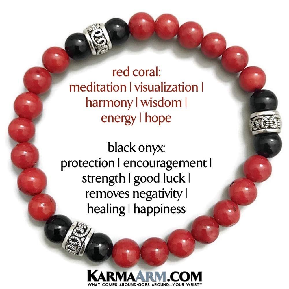 Black Onyx Move Forward Yoga Reiki Chakra Boho Beaded Bracelets Yoga Meditation Stretch Jewelry KarmaArm Red Coral