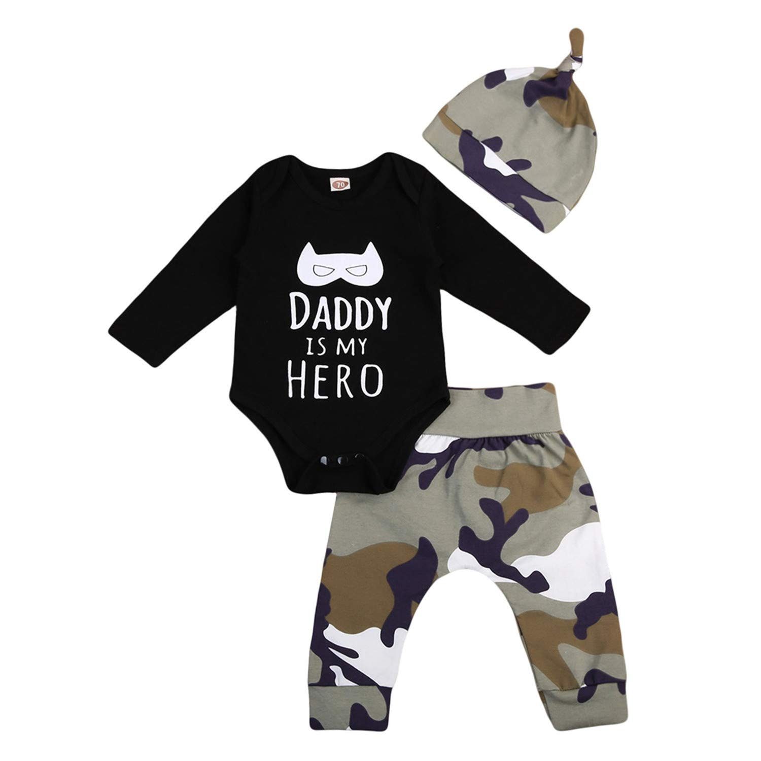 Hot Sale 3Pcs Baby Clothing Toddler Infant Baby Boys Long Sleeve Tops Romper Jumpsuit Pants Baby Camo Cotton Outfit Clothes Set 0-2T
