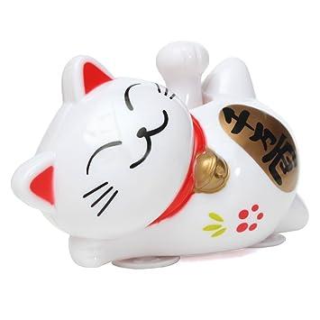 Gato de fortuna - TOOGOO(R)Maneki Neko gato de fortuna de hacer senas de energia solar de 11cm para decoracion de coche nuevo y blanco
