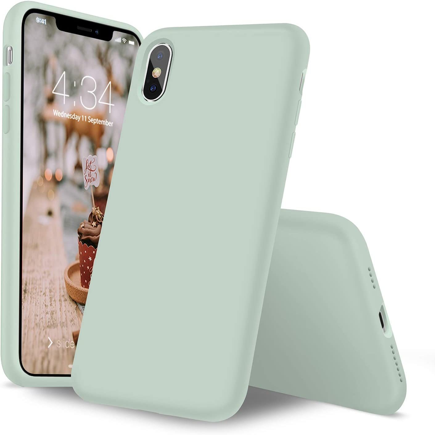 iPhone X Case, iPhone Xs Silicone Case, Xperg Slim Liquid Silicone Gel Rubber Shockproof Case Soft Microfiber Cloth Lining Cushion (Full Body) Compatible with iPhone X/XS(5.8 inch), Mint