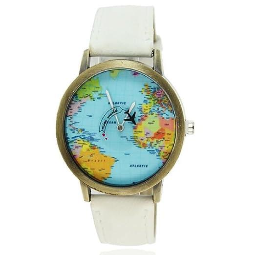 2016 World Map Watches Women Men Denim Fabric Watch Quartz Relojes Mujer Relogio Feminino Gift White