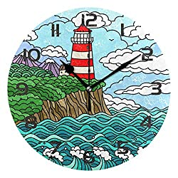 Dozili Ocean Sea Theme Lighthouse Decorative Wooden Round Wall Clock Arabic Numerals Design Non Ticking Wall Clock Large for Bedrooms, Living Room, Bathroom