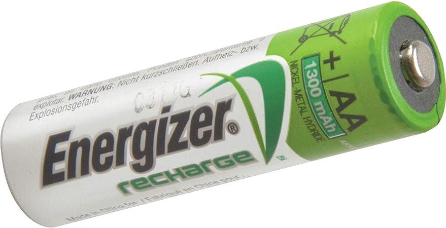 Oferta amazon: Energizer RCAA1300 - Lote de pilas AA recargables (1300 mAh, 4 unidades)           [Clase de eficiencia energética A]
