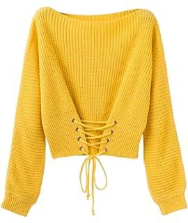 YAANCUN Mujer Otoño Suéter Jerseys Manga Larga Suéter Que Hace Punto De La  Ocasional Cintura Ajustable 554f33f6be70