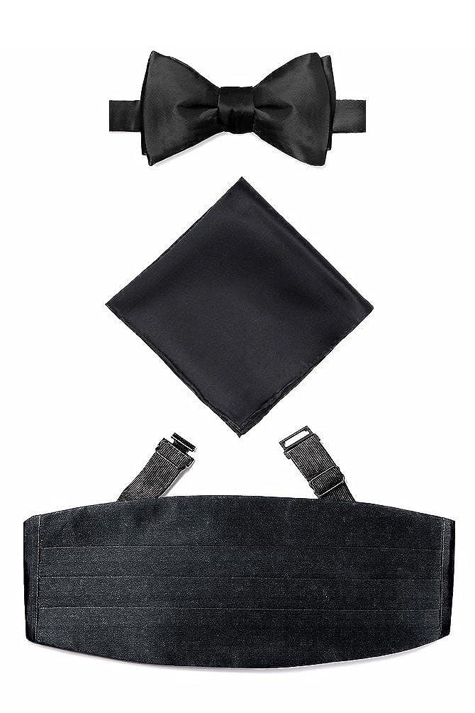 Self Tie Bow Tie Cummerbund Set By Elite Solid In Silk ZZ990112