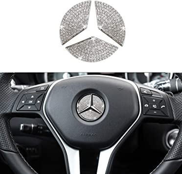 TopDall Unique Crystal Badge Emblem Decal Decoration Cover Sticker Trim Interior Decorations Inner Door Lock Pins Cover for Mercedes-Benz