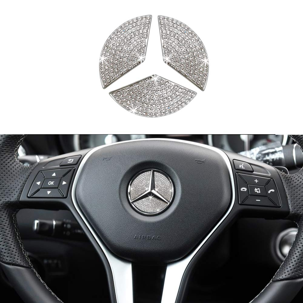1797 Compatible Engine Button Cap for Mercedes Benz Accessories Parts Bling W205 C117 X156 X253 C CLA GLA GLC Class Start Stop Ignition Push Covers Decals Interior Decoration AMG Women Men Crystal Silver