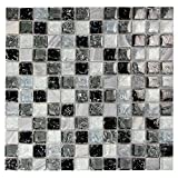 Grey 1x1 Mosaic Glass Tile - Grey Stone, Black and Grey Cracked Glass Tile for Bathroom, Kitchen Backsplash and Floor - Electra GMC 5 (Box of 10 Sheets)