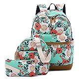 CAMTOP Teens Backpack for School Boys Girls School Bookbag Set Travel Daypack (Light Green-Flower)