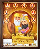 HandicraftStore Gurunank Dev Ji with Guru Gobind Singh Ji with Other Sikh Religious guru, A Poster Painting with Frame for Sikh Religious Office/Home