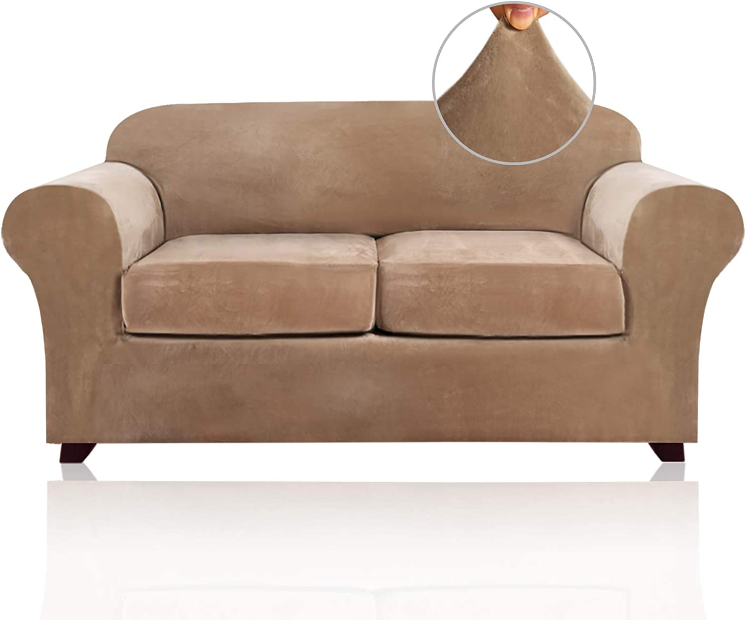 3 Pieces Sofa Covers Stretch Velvet Couch Covers for 2 Cushion Sofa Slipcovers Soft Sofa Slip Covers with 2 Non Slip Straps Furniture Covers with 2 Individual Seat Cushion Covers (Loveseat, Camel)