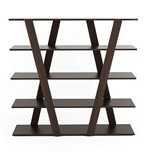 Bluewud Smiller Book Shelf/Home Decor Rack/Display Cabinet Unit (Wenge)
