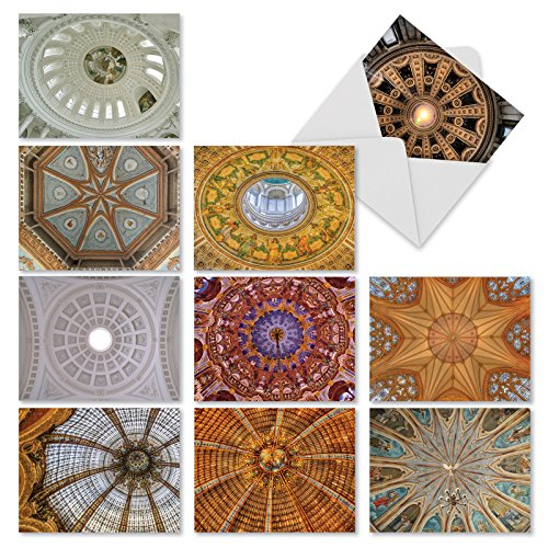 10 'Overhead Opulence' All Occasion Note Cards with Envelopes, Beautiful Stationery Set, Assorted Blank Greeting Cards for Weddings, Baby Showers, Thank You, Sympathy (Mini 4  x 5 ¼ ) #M3303