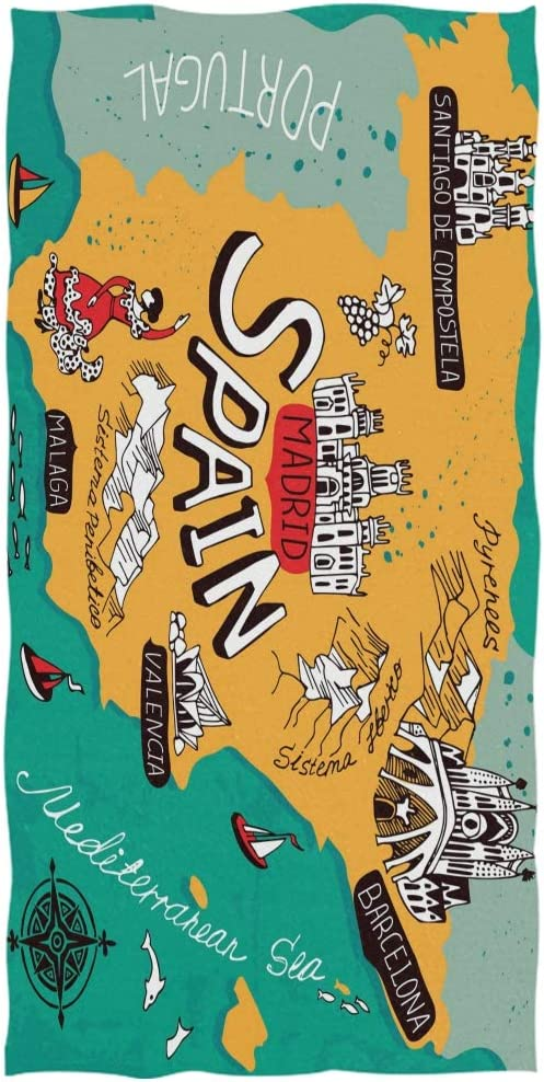 DXG1 Mapa de España Toalla de Playa Toalla de baño Manta de ...