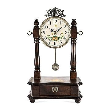 ^Relojes de Mesa Reloj de Mesa Sala de Estar Decoración Dormitorio Relojes de Escritorio Operado a batería Sin tictac Péndulo silencioso Europeo Vintage ...