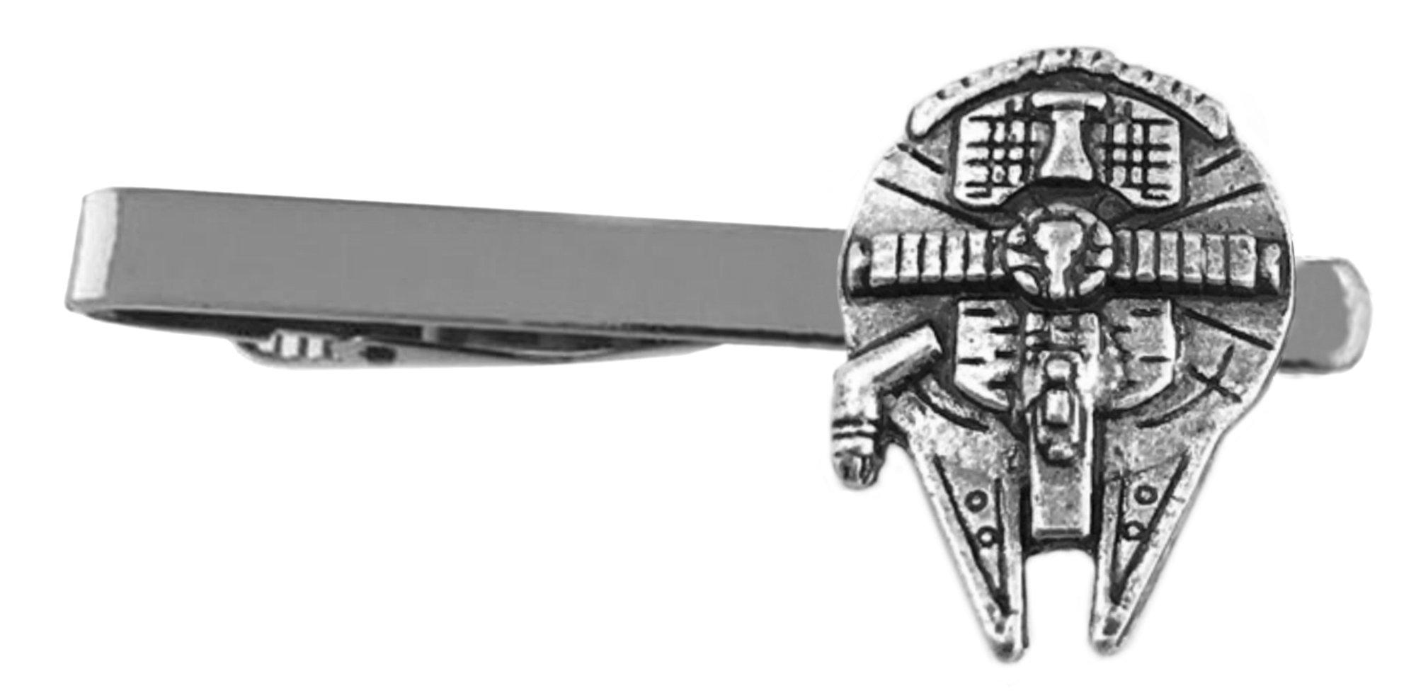 Outlander Star Wars - Millenium Falcon - Movie Series - Tiebar Tie Clasp Wedding Sci-fi Movies Comics Superhero Logo w/Gift Box