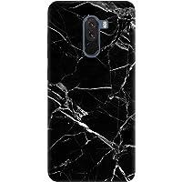Cekuonline® Xiaomi Pocophone F1 Kılıf Desenli Esnek Silikon Kapak - Mermer Siyah