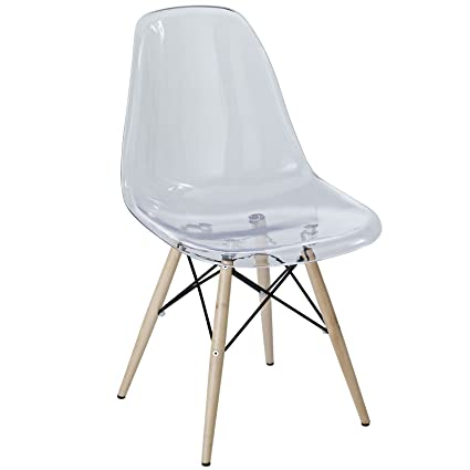 Modway Plastic Side Chair In Clear With Wooden Base