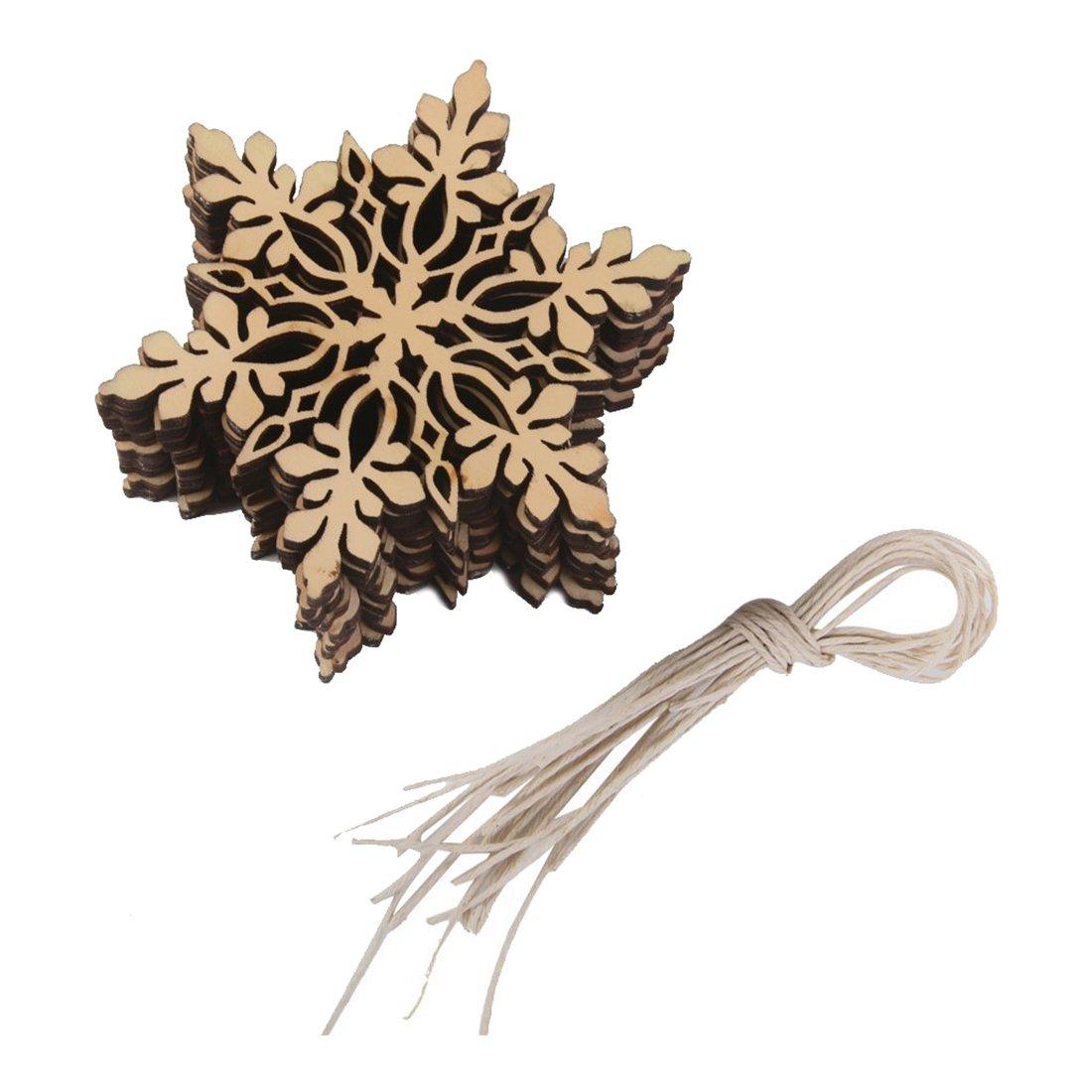 SODIAL(R) 10 pcs. Sharp hexagonal wood snowflake ornament Christmas tree decor W. String