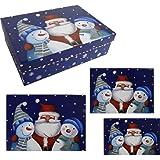 Weihnachtsboxen Santa und Schneemann | rechteckig | Karton mit Deckel | Glitzer | 3er Set
