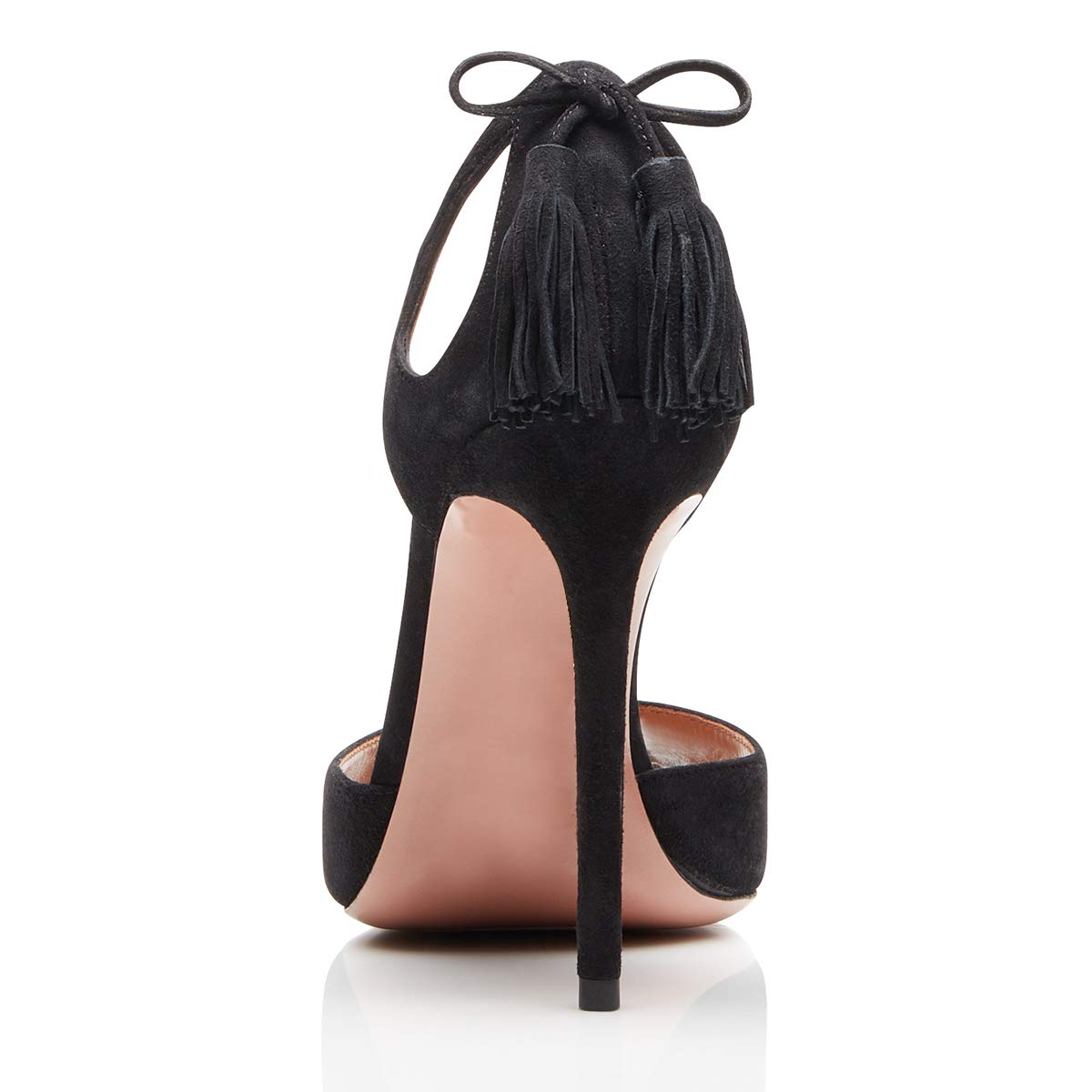 YDN Women Fringe High Heel Dorsay Pumps Slip on Cutout Dress V-Cut Party Shoes