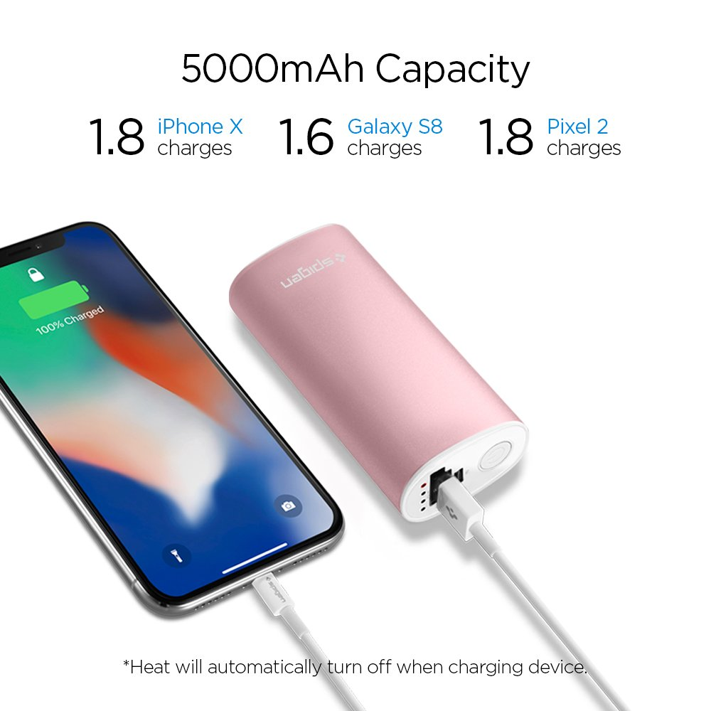 8//8 Plus//Galaxy S9 S8 Plus//Note 8 and More Spigen Essential Rechargeable Hand Warmer Portable Charger Power Bank with Quick Heating Function for iPhone X S8 S9 Plus