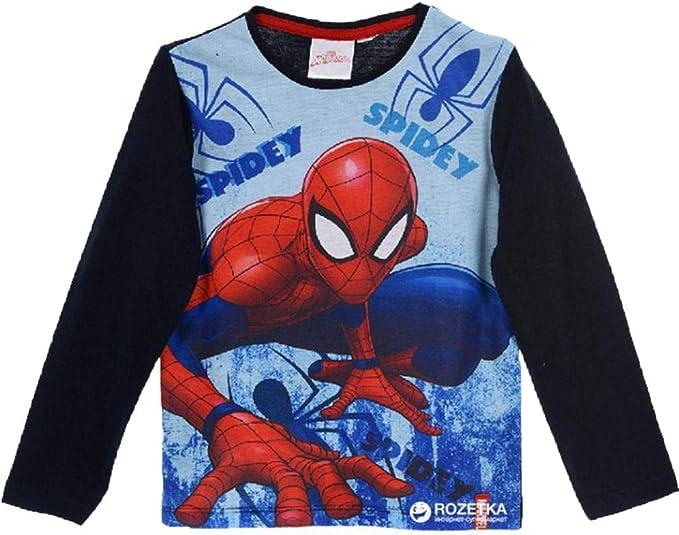 Marvel Spider-Man Camiseta Manga Larga para Niños, 100% Algodón ...
