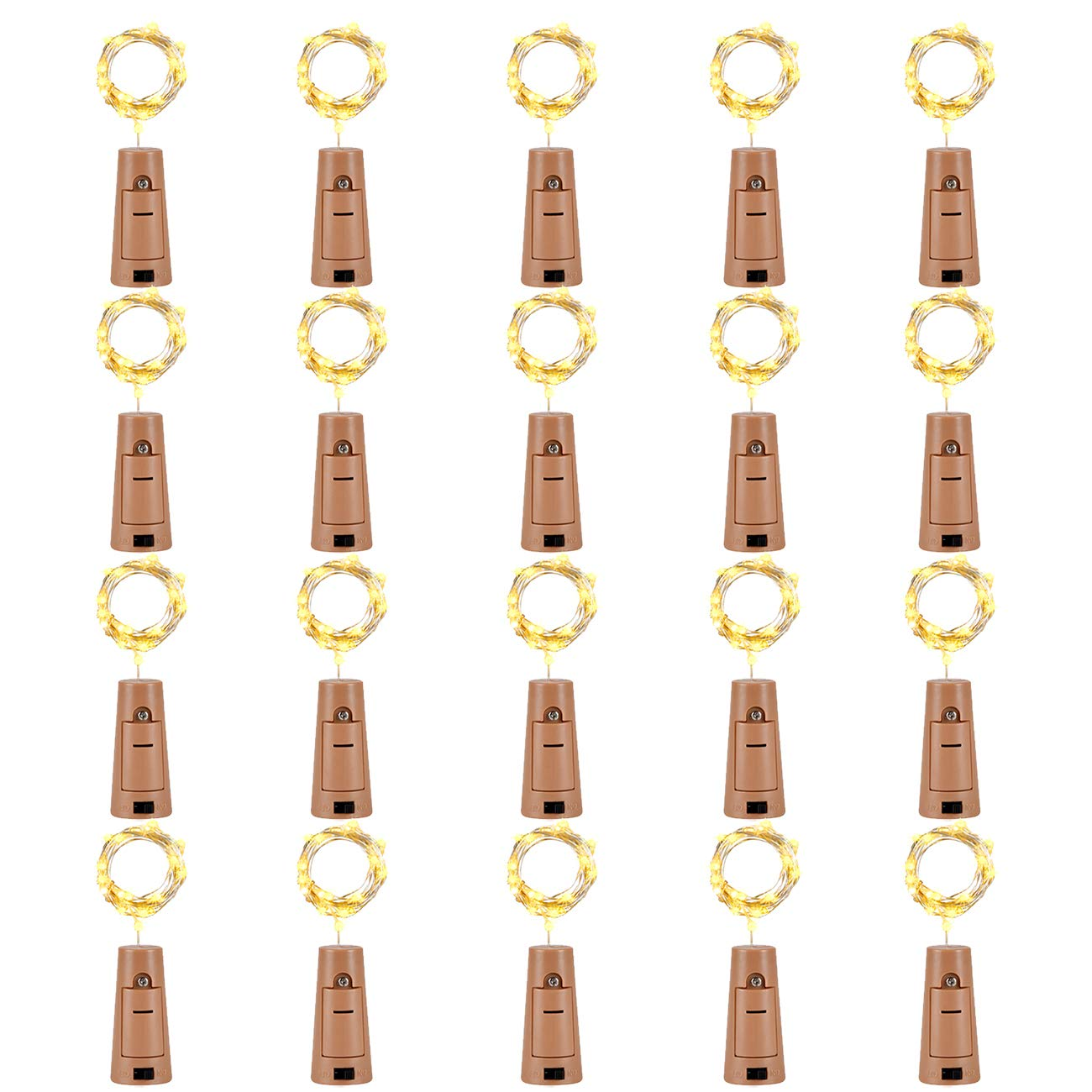 LEDIKON 20 Pack 20 Led Wine Bottle Lights with Cork,3.3Ft Silver Wire Warm White Cork Lights Battery Operated Fairy Mini String Lights for Wedding Party Wine Liquor Bottles Bar Christmas Decor